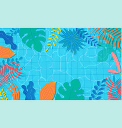 summer pool with floral tropical exotic plants vector image