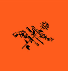 tattoo pistol knife and rose cold and firearms vector image