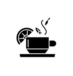 tea for health black icon sign on isolated vector image