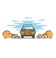 thin line flat design of car jeep in motion vector image