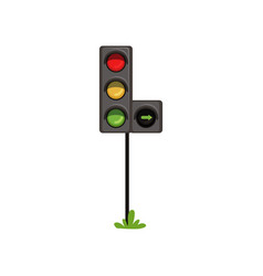 Traffic lights with additional section right turn vector