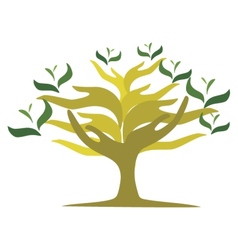 Tree of open hands vector