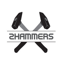 two crossed hammers symbol crossed carpenter vector image