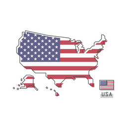 united states of america map and flag modern vector image