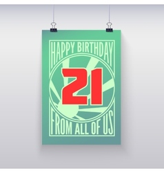 Vintage retro poster happy birthday vector