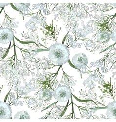 Watercolor gypsophila seamless pattern vector