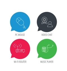 Wi-fi router video chat and music player icons vector