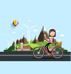 Womam on bicycle with castle and mountains on vector