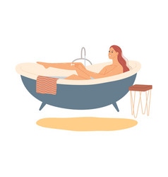 woman in bath shaves her legs vector image