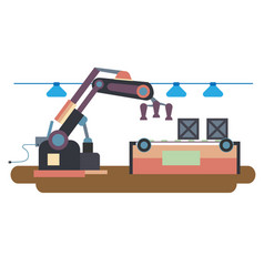 working machines robots in factories and shops vector image