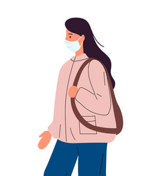 Young woman in medical mask with backpack vector