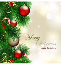 christmas background with decorated christmas tree vector image vector image