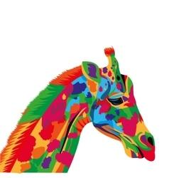 colorful giraffe drawing icon vector image
