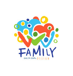 colorful happy family logo with people and hearts vector image vector image