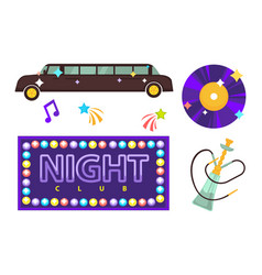 night club or disco party flat icons vector image vector image