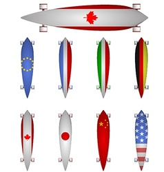 world flags longboards vector image