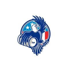 American Bald Eagle Beer Keg Flag Circle Retro vector image vector image