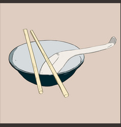 bowl chopsticks and spoon vector image
