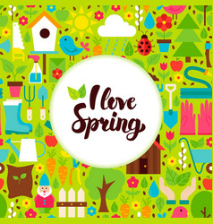flat i love spring greeting vector image