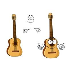 Happy cartoon wooden acoustic guitar vector image