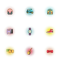 Hipster icons set pop-art style vector image vector image