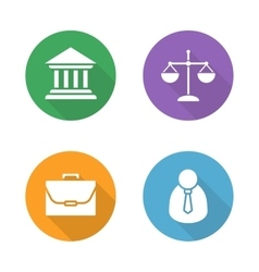 Law flat design icons set vector image vector image