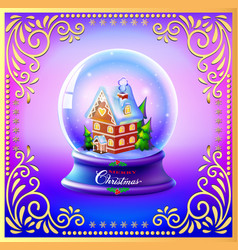 Christmas snow globe with a house and trees vector