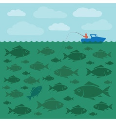Fishing on the boat vector image vector image