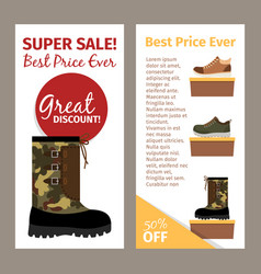 mens military autumn boots vertical flyers vector image