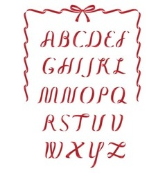 Christmas ribbon alphabet vector image vector image