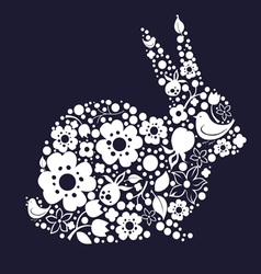 Easter design with bunny from floral lace vector image