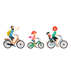 family on bicycles walk male and female riding on vector image