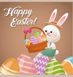 happy easter card rabbit holding basket egg vector image