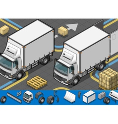 isometric container refrigerator truck in front vector image