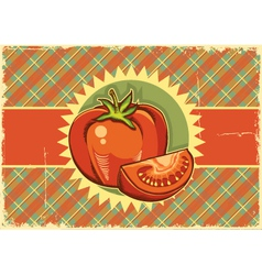 Red tomatos Vintage label vector image vector image