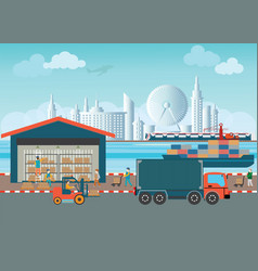 workers of warehouse load boxes and pallet vector image vector image