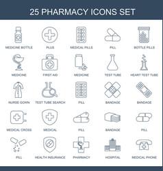 25 pharmacy icons vector image