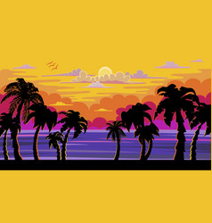 a beautiful sunset sunrise with palm trees vector image