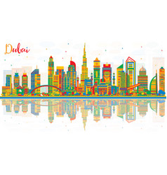 Abstract dubai uae city skyline with color vector