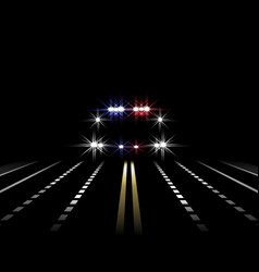 Abstract light effects police car at night with vector