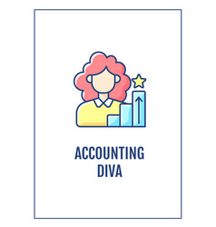 Accounting diva greeting card with color icon vector