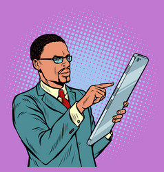 African businessman and smartphone with big screen vector
