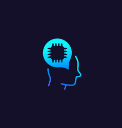 Ai technology icon chip and head vector