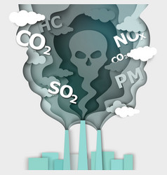 air pollution in paper art vector image