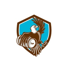 American Bald Eagle Beer Keg Crest Retro vector