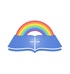An open bible and a rainbow covenant vector