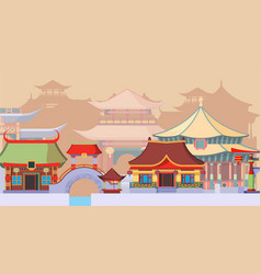 Ancient asian temples and buildings vector