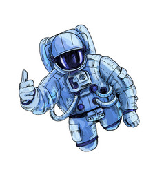 Astronaut in blue space suit with one hand vector