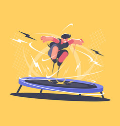 Athlete jumping on trampoline vector