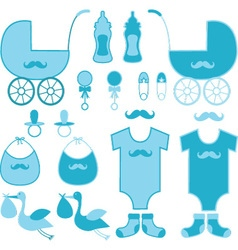 Baby shower boy elements announcement vector